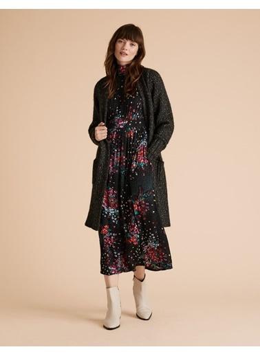 Marks & Spencer Dik Yaka Uzun Kollu Midi Boy Çiçek Desenli Kadın Waisted Elbise Siyah